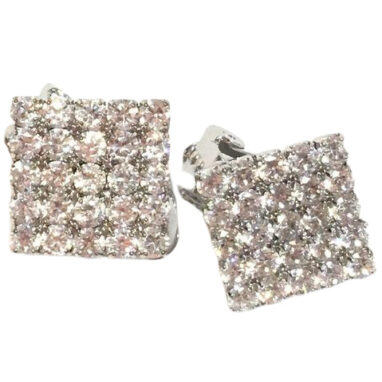 Square crystal clip on earrings