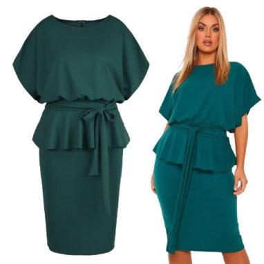 Sash Neck Peplum Dress - Emerald