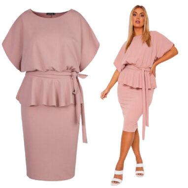 Sash Neck Peplum Dress