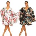 Paisley Floral Wide Sleeve Skater Dress
