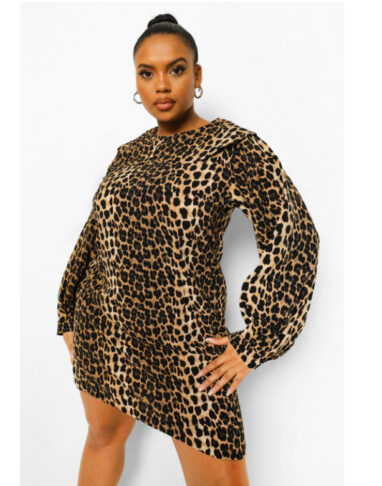 Leopard Collar Shift Dress