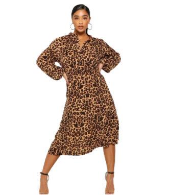 Leopard Print Belted Midi Dress