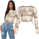 Marble Print Ruched Side Long Sleeve Crop Top