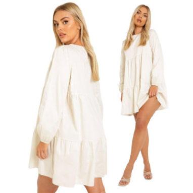 Cotton Poplin Tierred Smock Dress