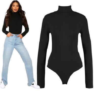 Tall Basic Cotton Roll Neck Long Sleeve Bodysuit